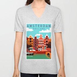 Vintage Amsterdam Holland Travel Unisex V-Neck