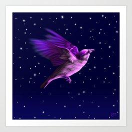 BIRD IN THE NIGHT Art Print