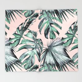 Island Love Coral Pink + Green Throw Blanket