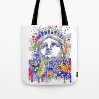 new york Tote Bags featuring New York New York by Bekim ART