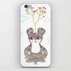 lonely cute creature with rose bush iPhone Skin