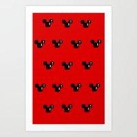 8 Bit Mouse Pattern Art Print