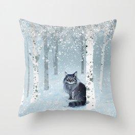 Norwegian Winter Forest Throw Pillow