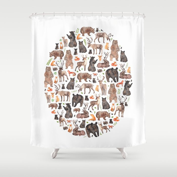 Woodland Or Forest Animals Shower Curtain By Elenaoneill
