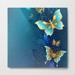 Golden Butterflies on a Blue Background Metal Print