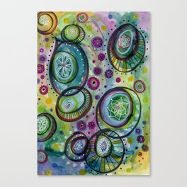 Under the Sea, Whimsical Circle Doodle Canvas Print