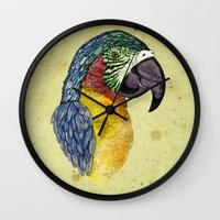 parrot Wall Clocks featuring Parrot by SilviaGancheva
