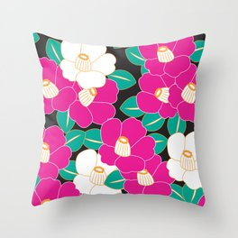 Shades of Tsubaki - Pink & Black Throw Pillow