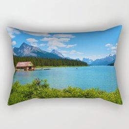 Maligne Lake Boat House in Jasper National Park, Canada Rectangular Pillow
