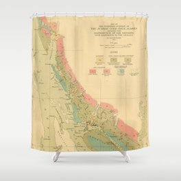 Vintage Geological Map of Juneau Alaska (1912) Shower Curtain