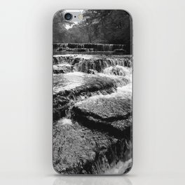 Black and White Rock Crossing Over Waterfall Nature Photography iPhone Skin