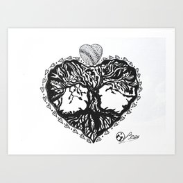 """The Tree of Hearts"" Hand-Drawn by Dark Mountain Art Print"