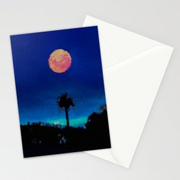Lone Tree and Orange Moon in a midnight sky  Stationery Cards