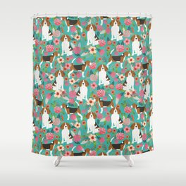 Beagle dog florals dog breed pattern must have cute gifts for pure bred dogs Shower Curtain