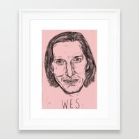 wes anderson Framed Art Prints featuring WES ANDERSON by Beth Dunne