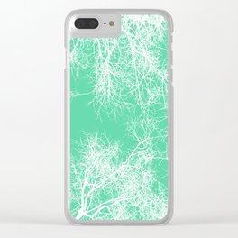 White silhouetted trees on green Clear iPhone Case