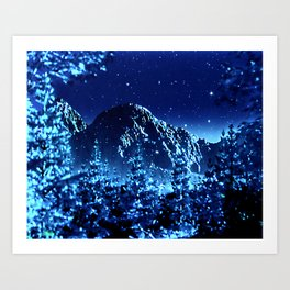 moonlight winter landscape Art Print