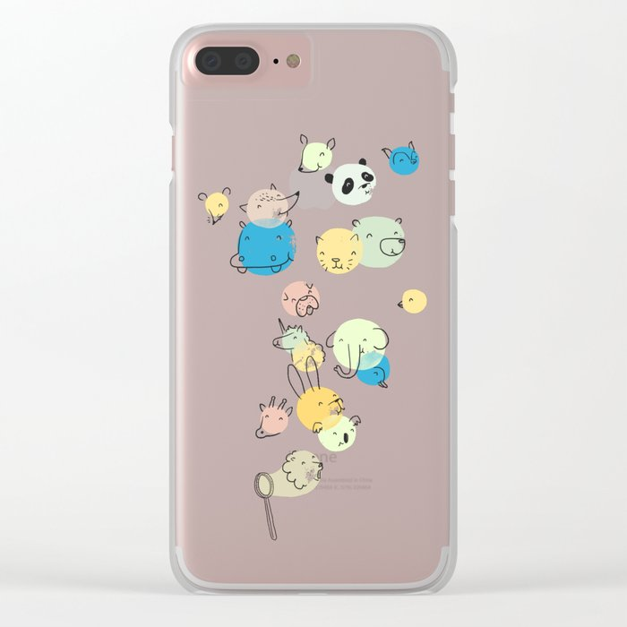 Bubble Animals Clear iPhone Case
