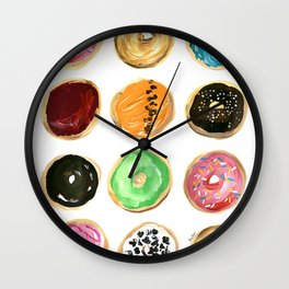 Dozen of colorful donuts Wall Clock