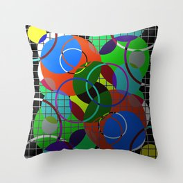 Caged Geometry - Abstract, metallic, geometric, rainbow coloured circles Throw Pillow