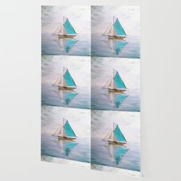 blue boat Wallpaper