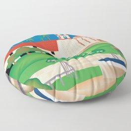 Santa Barbara, California - Skyline Illustration by Loose Petals Floor Pillow