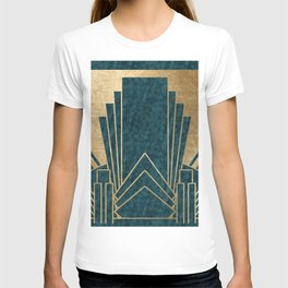 Art Deco glamour - teal and gold T-shirt