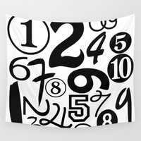 numbers Wall Tapestries featuring Numbers by Sweet Colors Gallery