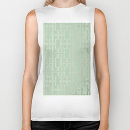 Simply Mid-Century in White Gold Sands and Pastel Cactus Green Biker Tank
