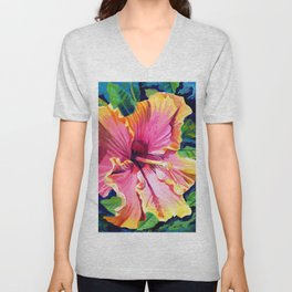 Tropical Bliss Hibiscus Unisex V-Neck