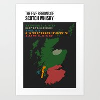 The Five Regions of Scotch Whisky Art Print