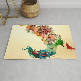 Vintage Italy Map City Travel Love Watercolor Rug