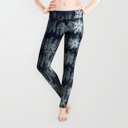 Feathers in the Winter Sky with Snowflakes Leggings