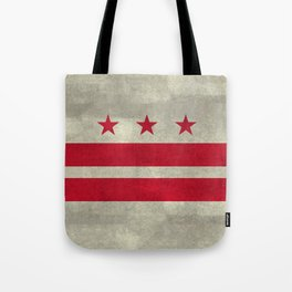 Washington D.C flag with worn vintage textures Tote Bag