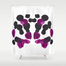 Purple & Black Organic Ink Blot Diagram Shower Curtain