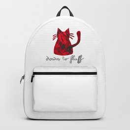 Down to Fluff Cute Cat Quote Red Abstract Print Backpack