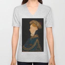 Profile Portrait of a Lady, c. 1410 | Finest Religious art | Renaissance art Unisex V-Neck