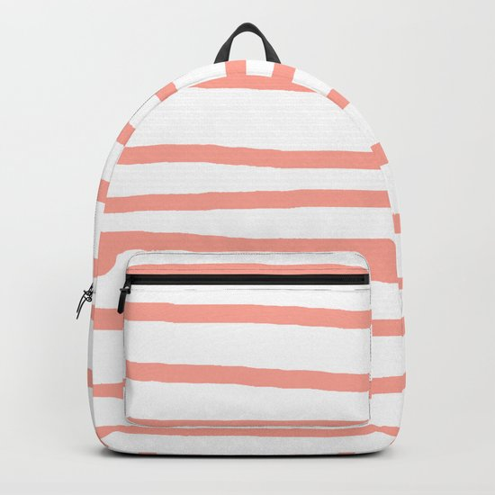 Simply Drawn Stripes Salmon Pink on White Backpack