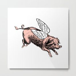 Pig with Wings | Flying Pig | When Pigs Fly | Pigs with Wings | Vintage Pig |  Metal Print