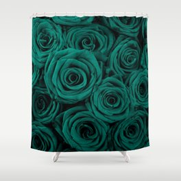 emerald green roses Shower Curtain