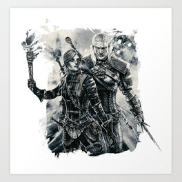 Geralt and Cirilla Art Print