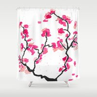 cherry blossoms Shower Curtains featuring Cherry Blossoms by Amaya