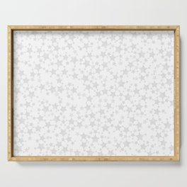 Block Print Silver-Gray and White Stars Pattern Serving Tray