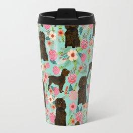 Boykin Spaniel custom dog breed floral pattern print by pet friendly dog art pet portraits Travel Mug