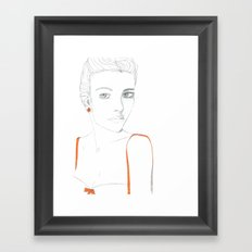 Portrait of Girl with Orange Framed Art Print