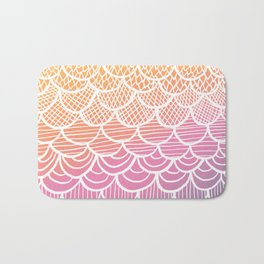 Modern hand drawn summer geometric mermaid scallop pink orange ombre watercolor Bath Mat