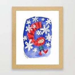 Scarf & Snowflakes Framed Art Print
