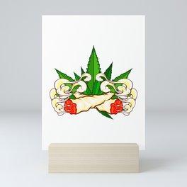 Marijuana graphic for Cannabis Smoker With Fun Joint Design Mini Art Print