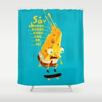 cheese Shower Curtains featuring Say cheese by Lime