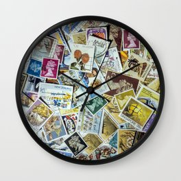 Postage Stamp Collection Wall Clock